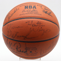 1972-73 New York Knicks NBA Champions Logo Spalding Basketball Signed by (14) with Earl Monroe, Red Holzman, Bill Bradley, Walt Frazier, Willis Reed, Dave DeBusschere, Phil Jackson (JSA LOA) at PristineAuction.com