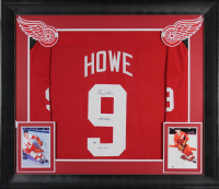 "Gordie Howe Signed 32x37 Custom Framed Jersey Display Inscribed ""Mr. Hockey"" & ""HOF 1972"" (PSA COA) at PristineAuction.com"