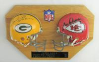 Bart Starr & Len Dawson Signed 10x15 Super Bowl I 20x22 Mini Helmet Display (JSA LOA) at PristineAuction.com