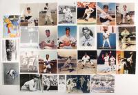 Lot of (25) Signed Baseball 8x10 Photos with Pete Rose, Al Downing, Joe Pepitone, Jose Canseco, Bob Feller (JSA COA, Beckett COA, & Sportscards COA) at PristineAuction.com