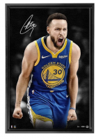 Stephen Curry Signed Golden State Warriors 21x31 Custom Framed LE Photo on Canvas (UDA COA) at PristineAuction.com