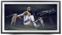 LeBron James Signed Lakers 18x36 Custom Framed LE Photo (UDA COA) at PristineAuction.com