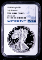 2018-W American Silver Eagle $1 One-Dollar Coin - Early Releases (NGC PF70 Ultra Cameo) at PristineAuction.com
