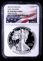 2015-W American Silver Eagle $1 One-Dollar Coin - Early Releases U.S. Flag Label (NGC PF70 Ultra Cameo) at PristineAuction.com
