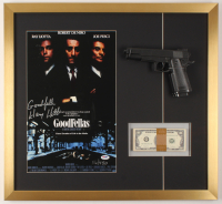 "Henry Hill Signed LE ""Goodfellas"" 23x25 Custom Framed Poster Display Inscribed ""Goodfella"" with Replica Gun & Prop Money (PSA COA) at PristineAuction.com"