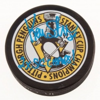 """Kevin Stevens Signed 1991-1992 Pittsburgh Penguins Stanley Cup Champions Logo Hockey Puck Inscribed """"2x SC Champs!"""" (TSE COA) at PristineAuction.com"""
