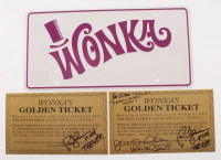 "Lot of (3) ""Willy Wonka & The Chocolate Factory"" Items with (1) Paris Themmen, Julie Dawn Cole & Peter Ostrum Signed Wonka's Golden Ticket, (1) Paris Themmen Signed Wonka's Golden Ticket & (1) ""Wonka"" License Plate (Themmen COA) at PristineAuction.com"
