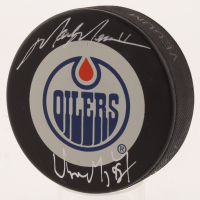 Wayne Gretzky & Mark Messier Signed Edmonton Oilers Logo Puck (UDA COA) at PristineAuction.com