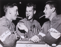 Gordie Howe, Alex Delvecchio, & Ted Lindsay Signed Detroit Red Wings 11x14 Photo (JSA COA) at PristineAuction.com
