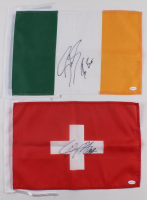 Lot of (2) Mini Flags with Sheamus Signed Ireland Flag & Cesaro Signed Switzerland Flag (TSE Hologram) at PristineAuction.com