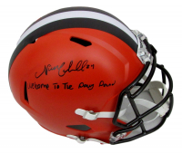 """Nick Chubb Signed Browns Full Size Speed Helmet Inscribed """"Welcome to the Dawg Pound"""" (JSA COA) at PristineAuction.com"""