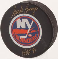 "Mike Bossy Signed New York Islanders Logo Hockey Puck Inscribed ""HOF 91"" (JSA COA) at PristineAuction.com"