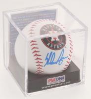 Nolan Ryan Signed OML Houston Astros Logo Baseball with Display Case (PSA COA - Graded 9) at PristineAuction.com