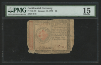 1779 $2 Two Dollars Continental Colonial Currency Note - Jan. 14th, 1779 (PMG 15) at PristineAuction.com