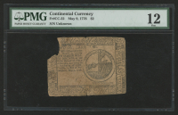 1776 $2 Two Dollars Continental Colonial Currency Note - May 9th, 1776 (PMG 12) at PristineAuction.com