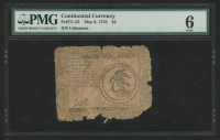 1776 $3 Three Dollars Continental Colonial Currency Note - May 9th, 1776 (PMG 6) at PristineAuction.com