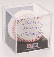 """Pete Rose Signed OML Baseball with Display Case Inscribed """"Sorry I Bet On Baseball"""" (PSA COA - Graded 10) at PristineAuction.com"""