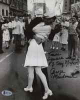 "George Mendonsa Signed ""VJ Day"" 8x10 Photo Inscribed ""Times Square V. J. Day 8/14/45"" (Beckett COA) at PristineAuction.com"