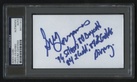 """Greg Louganis Signed 3x5 Index Card Inscribed """"'76 Silver, 80 Boycott, '84 2 Gold, 88 2 Golds"""" & """"Diving"""" (PSA Encapsulated) at PristineAuction.com"""