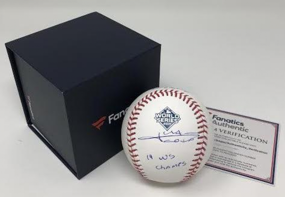 "Juan Soto Signed 2019 World Series Baseball Inscribed ""19 WS Champs"" (Fanatics Hologram) at PristineAuction.com"