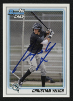 Christian Yelich Signed 2010 Bowman Chrome Draft Prospects #BDPP78 (JSA COA) at PristineAuction.com
