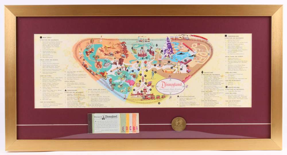 Disneyland 15x28.5 Custom Framed 1959 Original Map Display with Ticket Booklet & Coin at PristineAuction.com