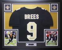 "Drew Brees Signed 35x43 Custom Framed Jersey Display Inscribed ""SB XLIV MVP"" (Beckett COA & Brees Hologram) at PristineAuction.com"