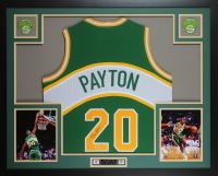 Gary Payton Signed 35x43 Custom Framed Jersey Display (PSA COA) at PristineAuction.com