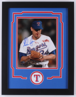 Nolan Ryan Signed Texas Rangers 14x18 Custom Framed Photo Display (AIV COA & Ryan Hologram) at PristineAuction.com