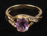 18K Gold Over Sterling Silver Amethyst Ring at PristineAuction.com
