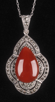 Sterling Silver Red Agate & Marcasite Pendant at PristineAuction.com