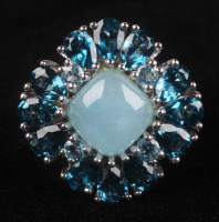 Silver Blue Jade & London Blue Topaz Ring at PristineAuction.com