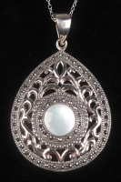 Sterling Silver Marcasite & MOP Teardrop Pendant at PristineAuction.com
