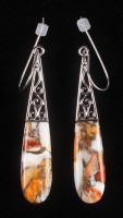 Silver Spiny Oyster Elongated Drop Earrings at PristineAuction.com