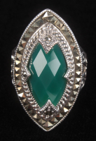 Sterling Silver Green Agate & Marcasite Ring at PristineAuction.com