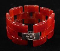 """Sterling Silver Red Jade Link Bracelet 7.5"""" at PristineAuction.com"""