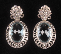 Silver Marcasite & Blue Topaz Oval Drop Earrings at PristineAuction.com