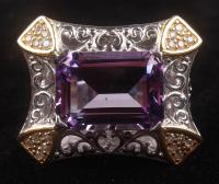 Silver 6.83ct Amethyst & Zircon Filigree Ring at PristineAuction.com