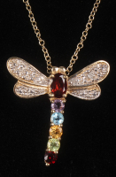 18K Gold Plated Multi-gemstone Dragonfly Pendant at PristineAuction.com