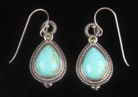 Silver Turquoise & Peridot Rope Texture Earrings at PristineAuction.com
