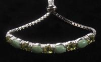 Silver Evans Turquoise & Peridot Slider Bracelet at PristineAuction.com