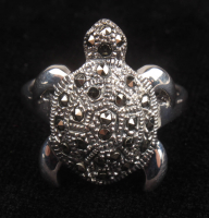 Sterling Silver Marcasite Turtle Ring at PristineAuction.com