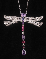 Silver 2.85ctw Multi Gemstone Dragonfly Pendant at PristineAuction.com