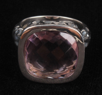 Silver Checkerboard Cut Pink Amethyst Ring at PristineAuction.com