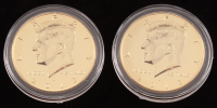 Set of (2) 2013 24kt Gold Plated Kennedy Half Dollar Coins at PristineAuction.com