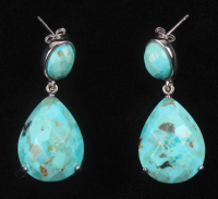 Sterling Silver Turquoise Drop Earrings at PristineAuction.com