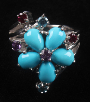 Silver Turquoise & Multi Gemstone Flower Ring at PristineAuction.com