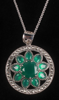 Silver Green Agate & Marcasite Flower Pendant at PristineAuction.com