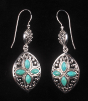 Sterling Silver Turquoise Marquise Drop Earrings at PristineAuction.com