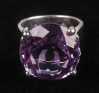 Silver 11.70ct Amethyst Solitaire Ring at PristineAuction.com